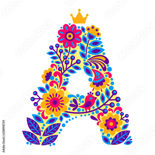 Decorative Letter A from flowers isolated on white background