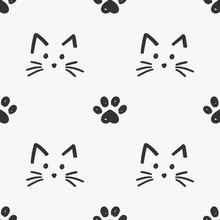 Cat Faces And Paws Pattern