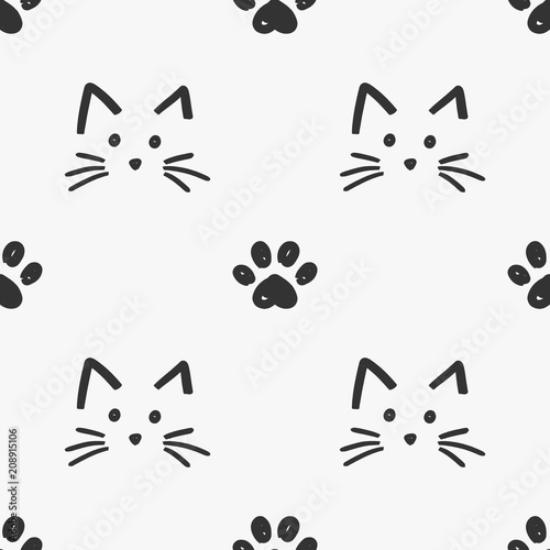 Cat faces and paws pattern Canvas Print