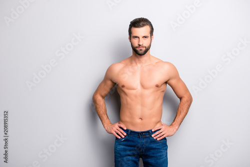 Fotografie, Obraz  Portrait of sporty handsome masculine virile attractive proud concentrated confi