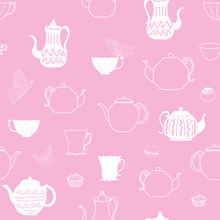 Vector Pink Vintage Teapots And Cups Seamless Pattern Background. Perfect For Fabric, Scrap Booking, Wallpaper, Invitations, Gift Wrap