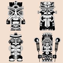 Set Of 4 Tiki Totem Poles. Haw...