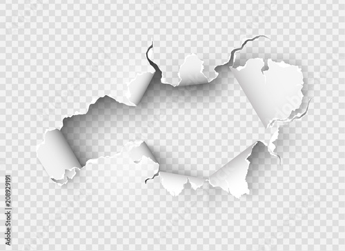 Hole torn in ripped paper on transparent Fotobehang