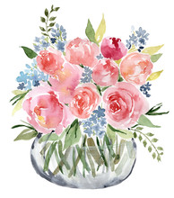 Watercolor Flower Bouquet Vase