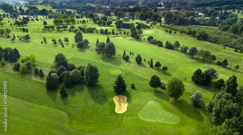 Papiers peints Pistache Drone view of a golf course