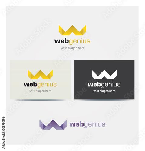 Logo Lettre W Couronne Dore Icone Carte De Visite Et Charte Graphique Entreprise Plusieurs Couleurs