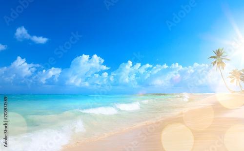 In de dag Centraal-Amerika Landen Art Beautiful sunset over the tropical beach
