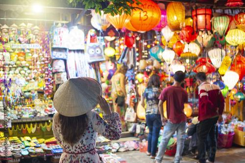 Printed kitchen splashbacks Kyoto Tourist is traveling in Hoi An Old town in Vietnam.