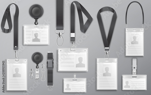 Fotografía  Set of realistic employee identification card on black lanyards with strap clips