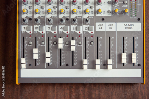 Slika na platnu Audio studio sound mixer equalizer board sliders, faders and knobs