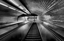 Escalators At The Exit Of A M...