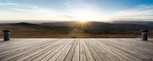 Empty Wooden Floor With Sunrsise