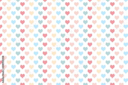 Heart Pattern With Pastel Colour On White Background