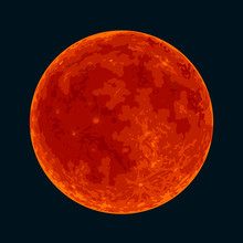 Red Blood Full Moon On Black B...