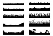 Set Of Grass Vector On White Background.Grass Vector By Hand Drawing.