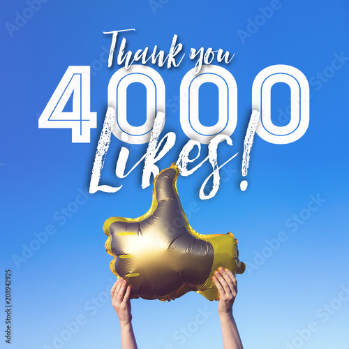 Fotografie, Obraz  Thank you 4000 likes gold thumbs up like balloons social media template banner