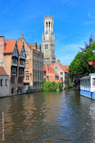 Deurstickers Brugge The Rozenhoedkaai (canal) in Bruges with the belfry in the background. Belgium, Europe.