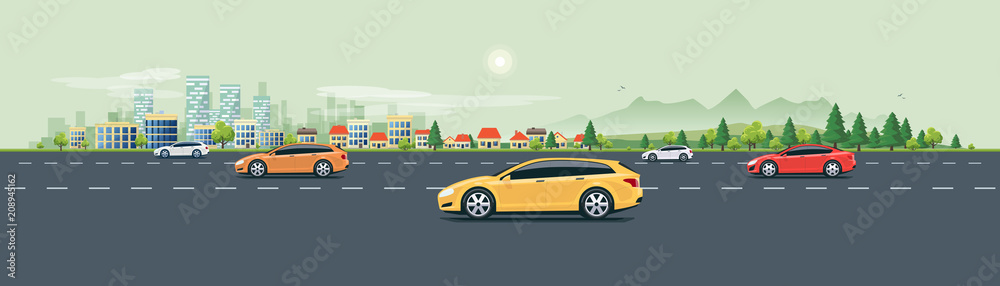 Fototapeta Flat vector cartoon style illustration of urban landscape street with cars, skyline city office buildings, family houses in small town and mountain with green trees in backround. Traffic on the road.