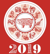 Chinese New Year Festive Vector Card Design With Pig, Zodiac Symbol Of Year 2019.