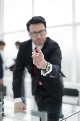 strict business owner pointing finger at you. Poster