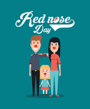 Red Nose Day Design With Carto...