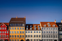Beautiful Historical Houses Against Blue Sky At Sunny Day, Copenhagen, Denmark