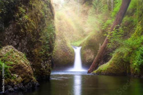 Foto auf Gartenposter Wasserfalle Sun Beams Over Punch Bowl Falls