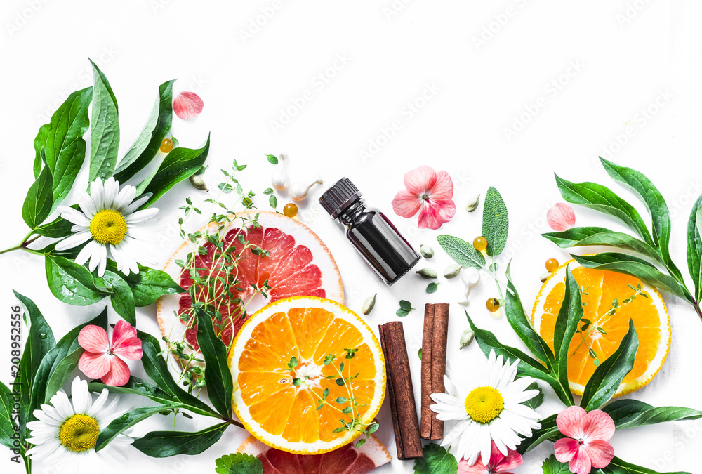 Fototapety, obrazy: Essential oil for beauty skin. Flat lay beauty ingredients on a light background, top view. Beauty healthy lifestyle concept. Copy space