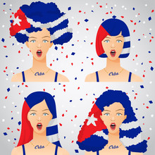 Surprised Woman With National Flag Haircut : Vector Illustration