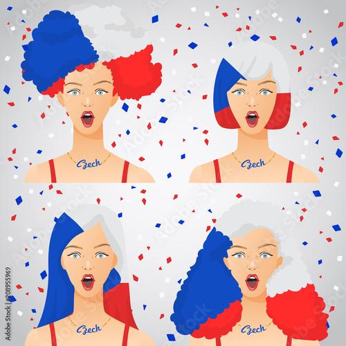Fototapeta Surprised Woman with National Flag Haircut  : Vector Illustration obraz na płótnie