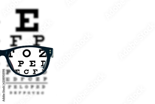 Carta da parati Eyeglasses with blurred optician visual text chart on a white background
