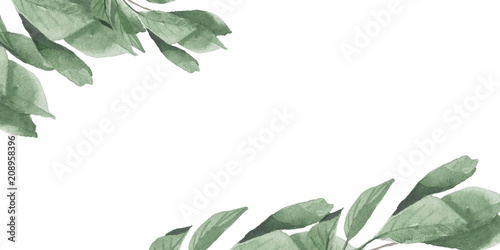 Plissee mit Motiv - Watercolor cherry green leaves frame (von Anna)