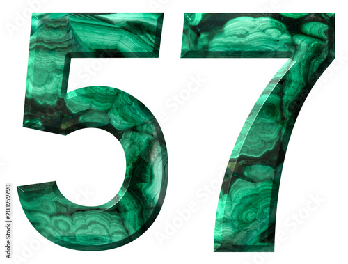 Fotografie, Obraz  Arabic numeral 57, fifty seven, from natural green malachite, isolated on white