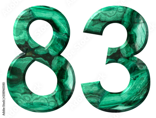 Poster  Arabic numeral 83, eighty three, from natural green malachite, isolated on white