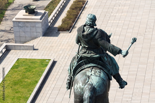 Jan Zizka equestrian statue, National memorial Vitkov, Prague, Czech Republic Poster