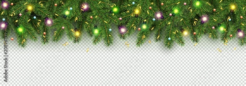 Fotografia  Christmas and New Year banner of realistic branches of Christmas tree, garland w