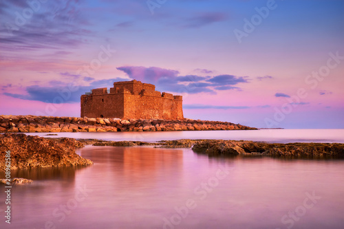 Foto op Plexiglas Cyprus Pafos Harbour Castle in Pathos, Cyprus, on a sunset