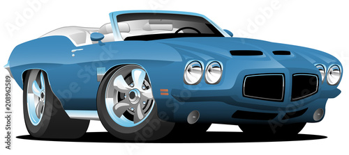 Tuinposter Cartoon cars Classic Seventies Style American Convertible Muscle Car Cartoon Vector Illustration