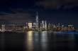 New York City Skyline at night from financial district