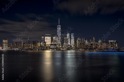 New York City Skyline at night from financial district Wallpaper Mural