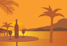 Table With Wine Bottle And Two Glasses, On A Beach With Palm Trees, Under An Orange Sky With The Setting Sun