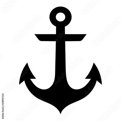 Fotografiet Simple, flat, black anchor silhouette icon. Isolated on white