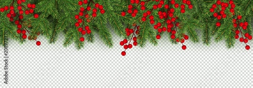 Fototapeta Christmas and New Year border of realistic branches of Christmas tree and holly berries obraz