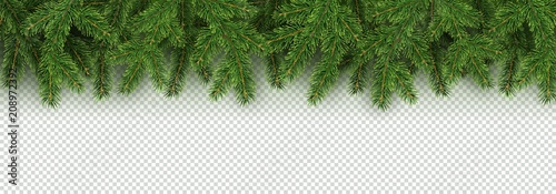 Cuadros en Lienzo  Christmas, New Year, Winter border with realistic branches of Christmas tree