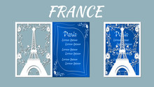 Vector Illustration Postcard. Invitation And Greeting Card With Eiffel Tower. Pattern For The Laser Cut. Plotter Cutting.