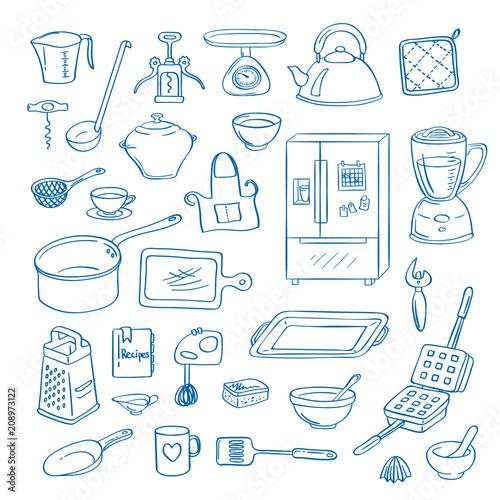 Fotografía  Vector hand drawn kitchen utensils doodle icons set illustration
