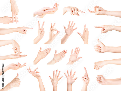 Valokuva  Hand gestures collection isolated with clipping path