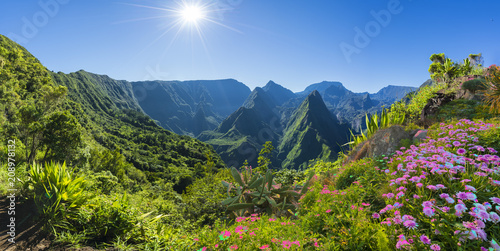 Panorama of Cirque de Mafate on the Island La Reunion, France