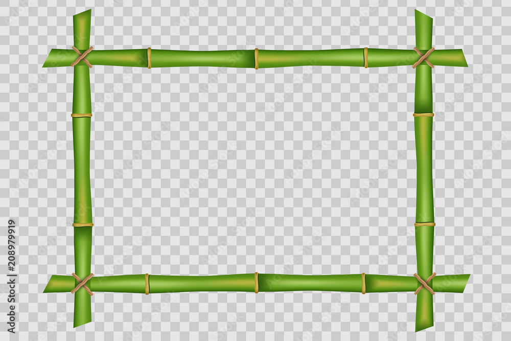 Creative vector illustration of bamboo stems frame isolated on background. Art design blank mockup template. Rope, paper, silk canvas. Abstract concept tropical signboard. Empty place for your text