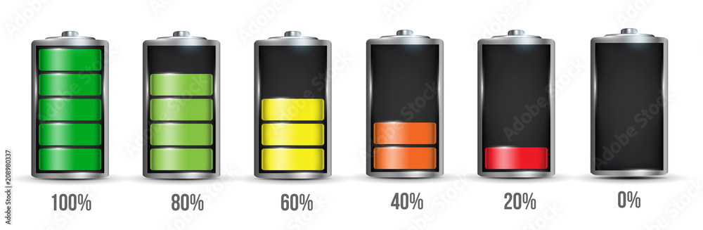Fototapeta Creative vector illustration of 3d different charging status battery load isolated on transparent background. Discharged power sources. Art design. Abstract concept graphic element for displays, icon